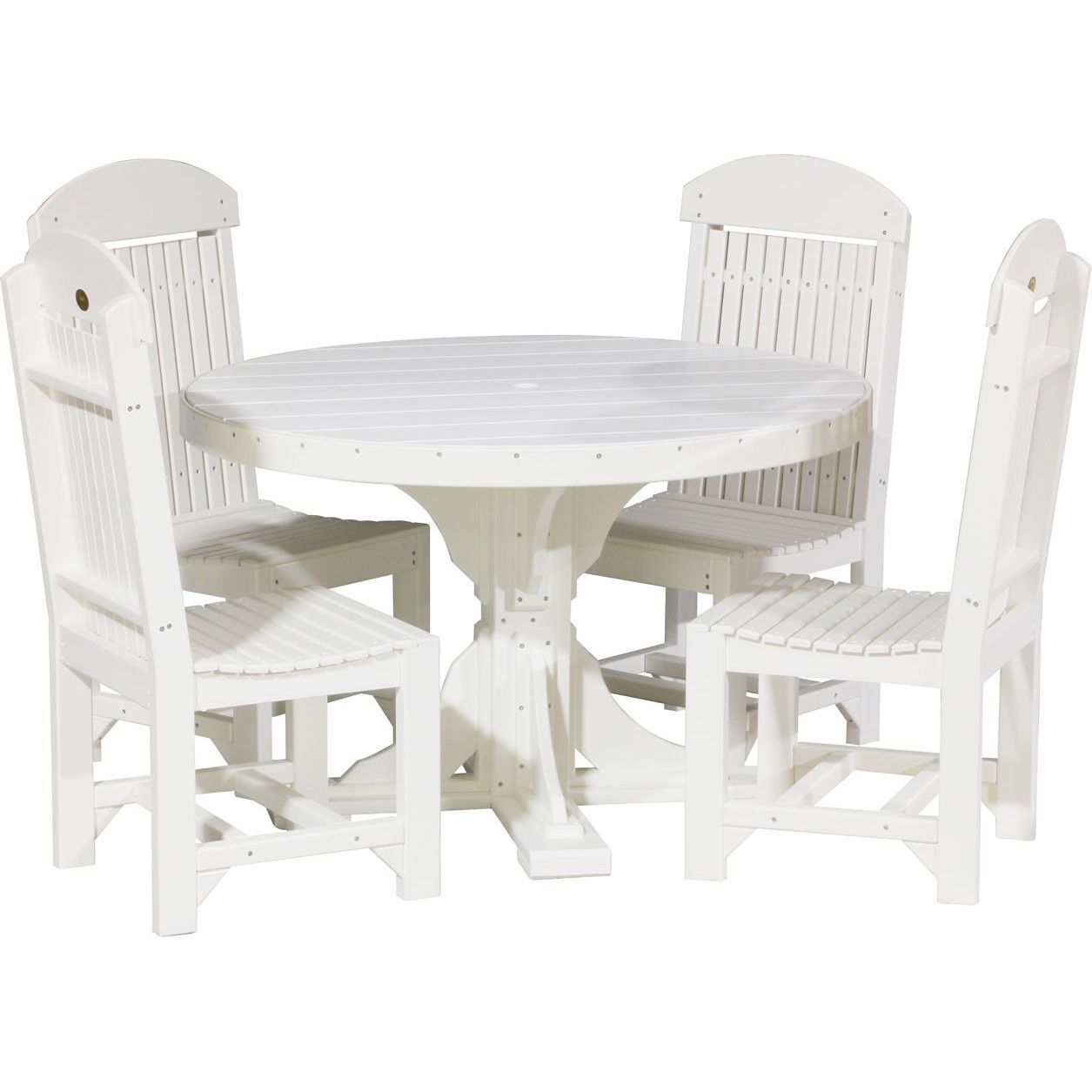 LuxCraft Recycled Plastic 4ft. Round Table Set With 4 Chairs