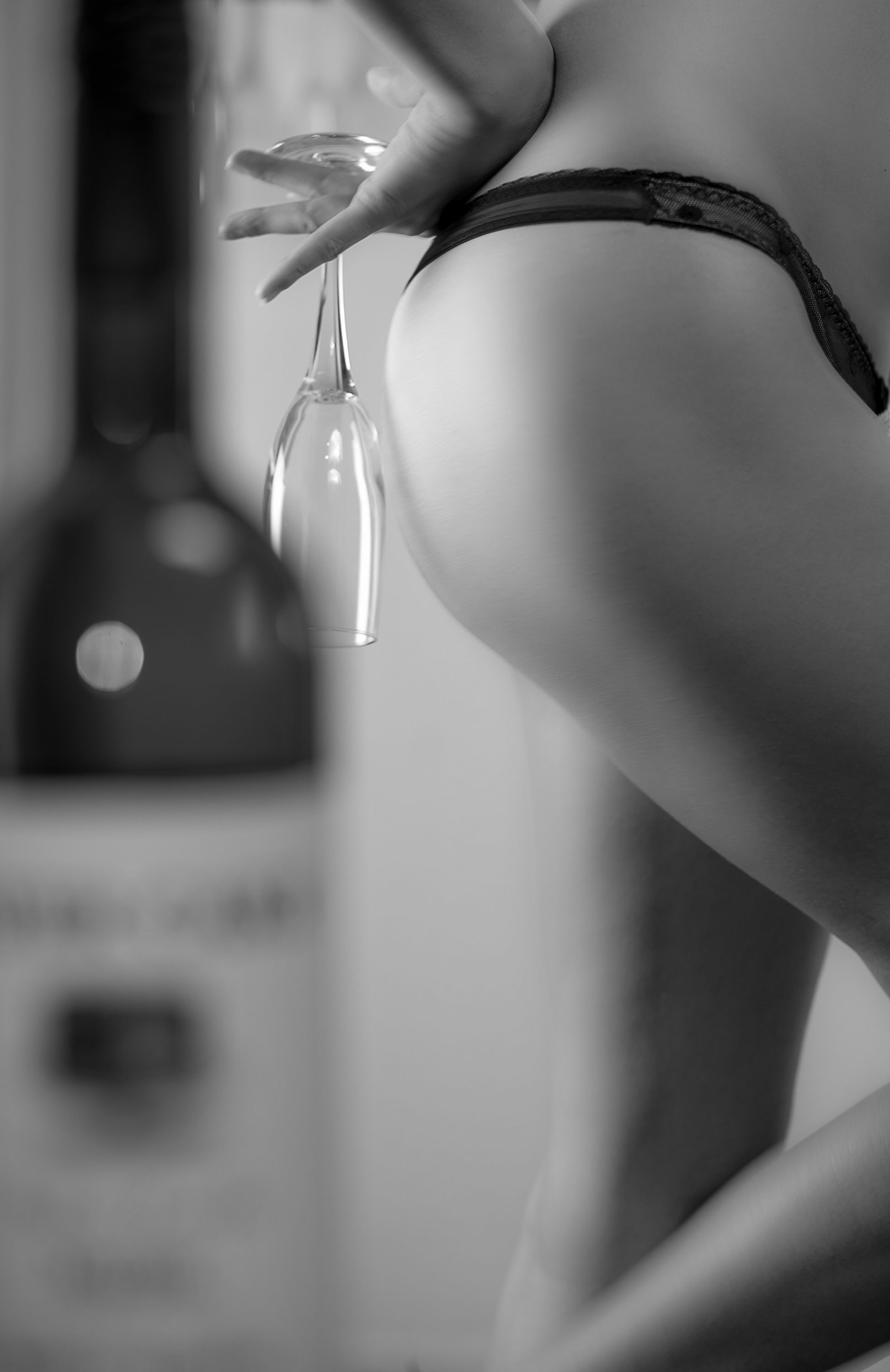 Sexy girl and wine photography.