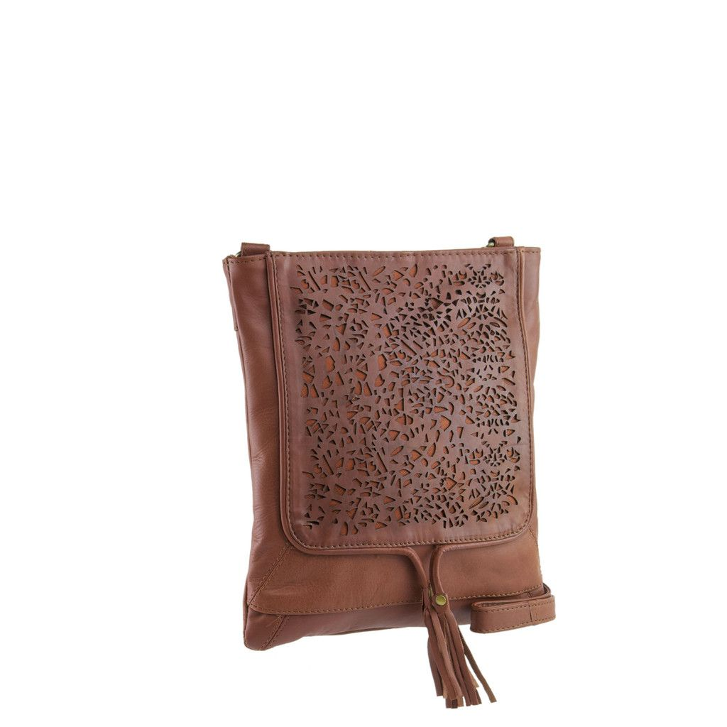 9762aee708b5 Manzoni Accessories - Tan Leather Lace Crossbody - N583