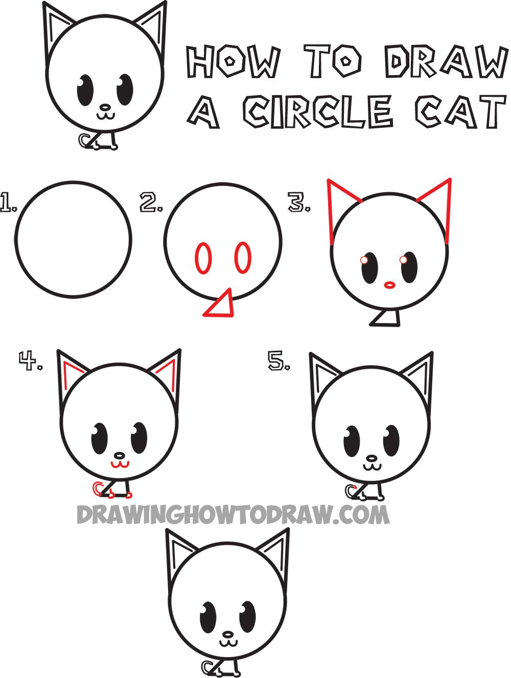 How to Draw a Cute Cartoon Circle Cat | Drawing for Kids ...