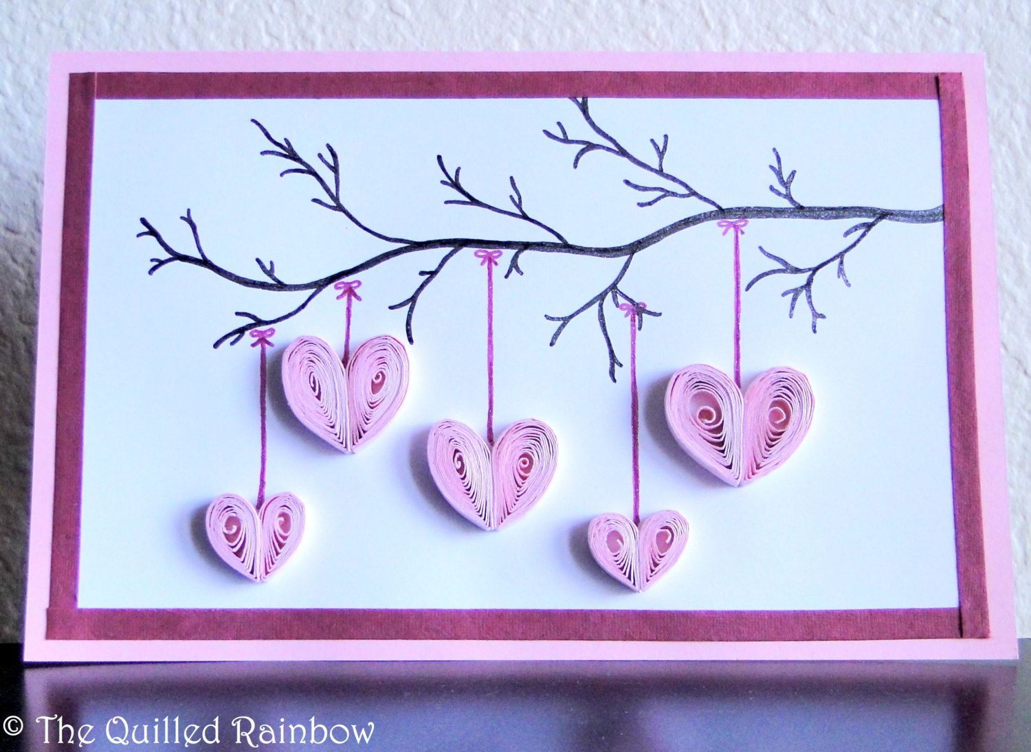 Quilled hanging hearts handmade hearts hanging from a branch quilled hanging hearts handmade hearts hanging from a branch valentine card mothers day bookmarktalkfo Image collections