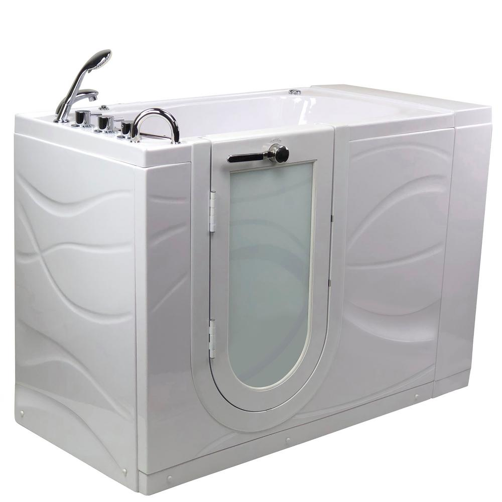 Ella Chi 52 In Acrylic Walk In Whirlpool Bathtub In White With