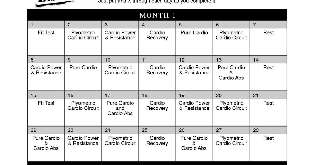 Pin En Insanity Workout Schedule