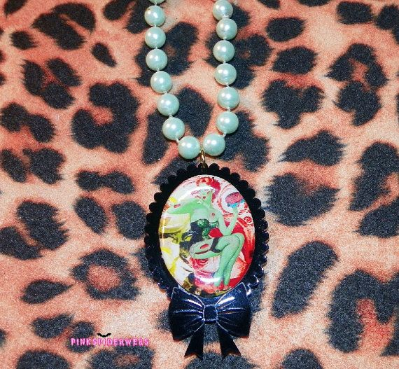 Pastel Green Zombie Pinup Cameo Necklace by Pinkspiderwebs on Etsy,