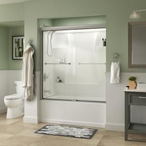 Delta Everly 60 In X 58 1 8 In Semi Frameless Traditional Sliding Bathtub Door In Nickel With Clear Glass Sd3226975 The Home Depot In 2020 Bathtub Doors Shower Doors Tub Doors