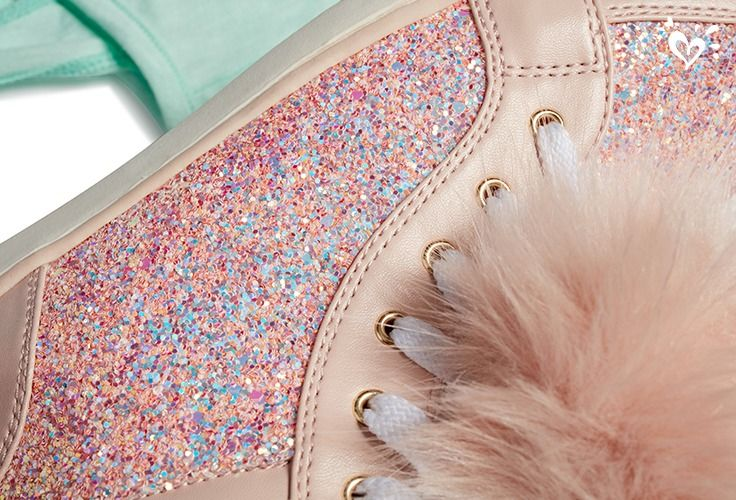 Good for the sole: pink poms and lots of sparkle.