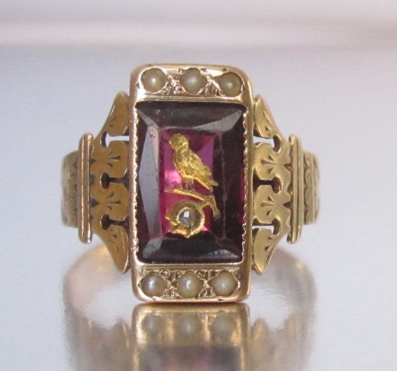 $700 size 5 5 1870 1880 Antique Victorian Bird Garnet Rose Gold