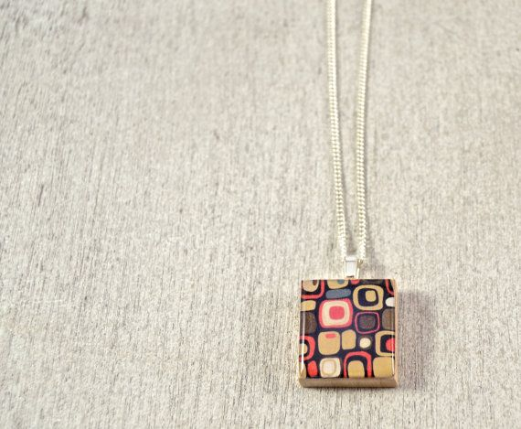 Funky Tone Squares Scrabble Tile Pendant Necklace on Etsy, $9.00