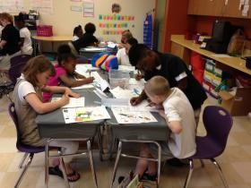 The students of Violetville Elementary were engrossed in their JA in a Day programs today. Here you will see photos of the 2nd grade class working through Our Community activities. Special thanks to our volunteers from ADP, Inc. and Bank of America who made this day possible for these children.
