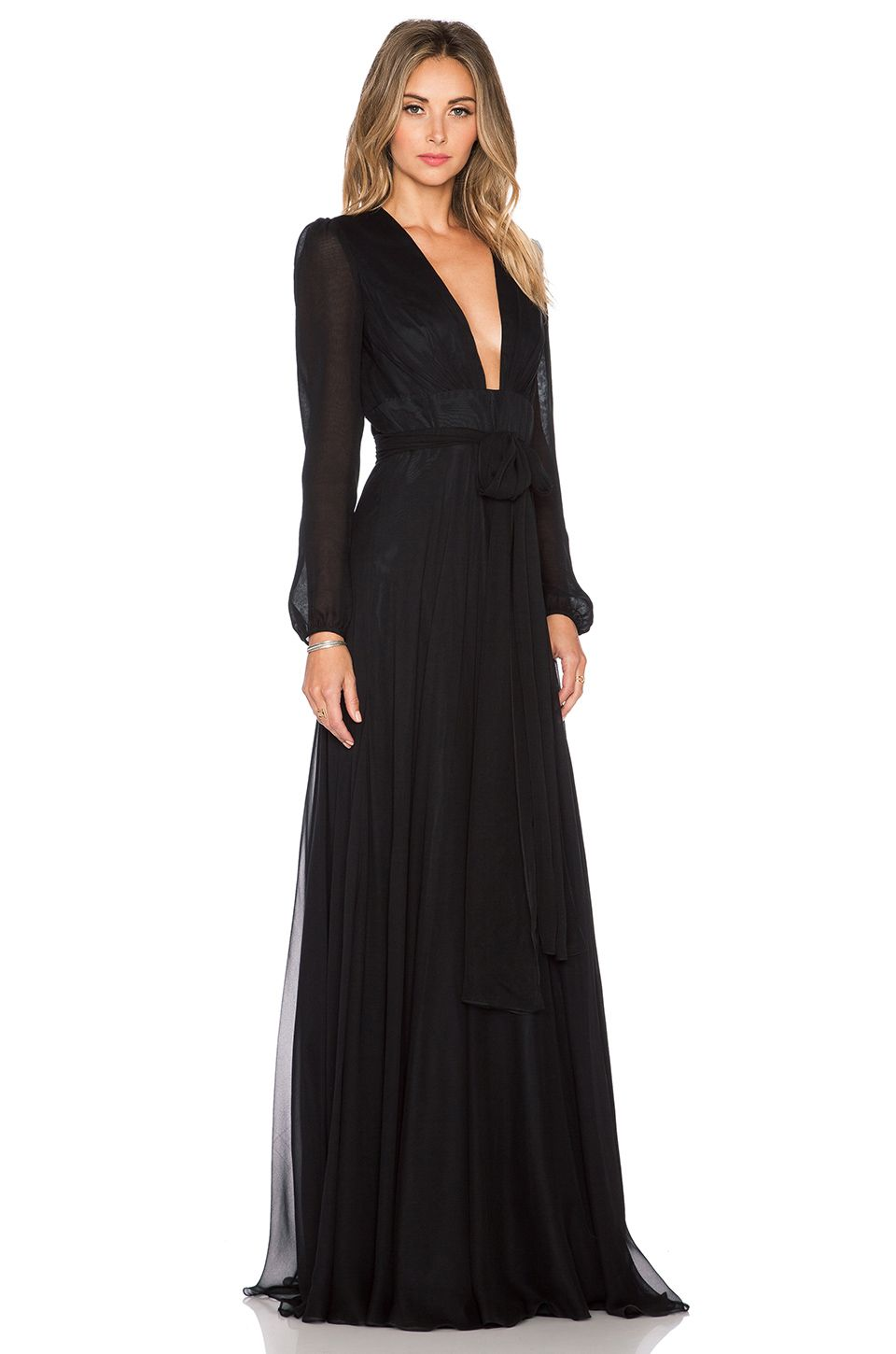 7a086c76cb4 omg SO in love with this outrageously gorgeous JILL JILL STUART Deep V Maxi  Dress in Black! long-sleeves