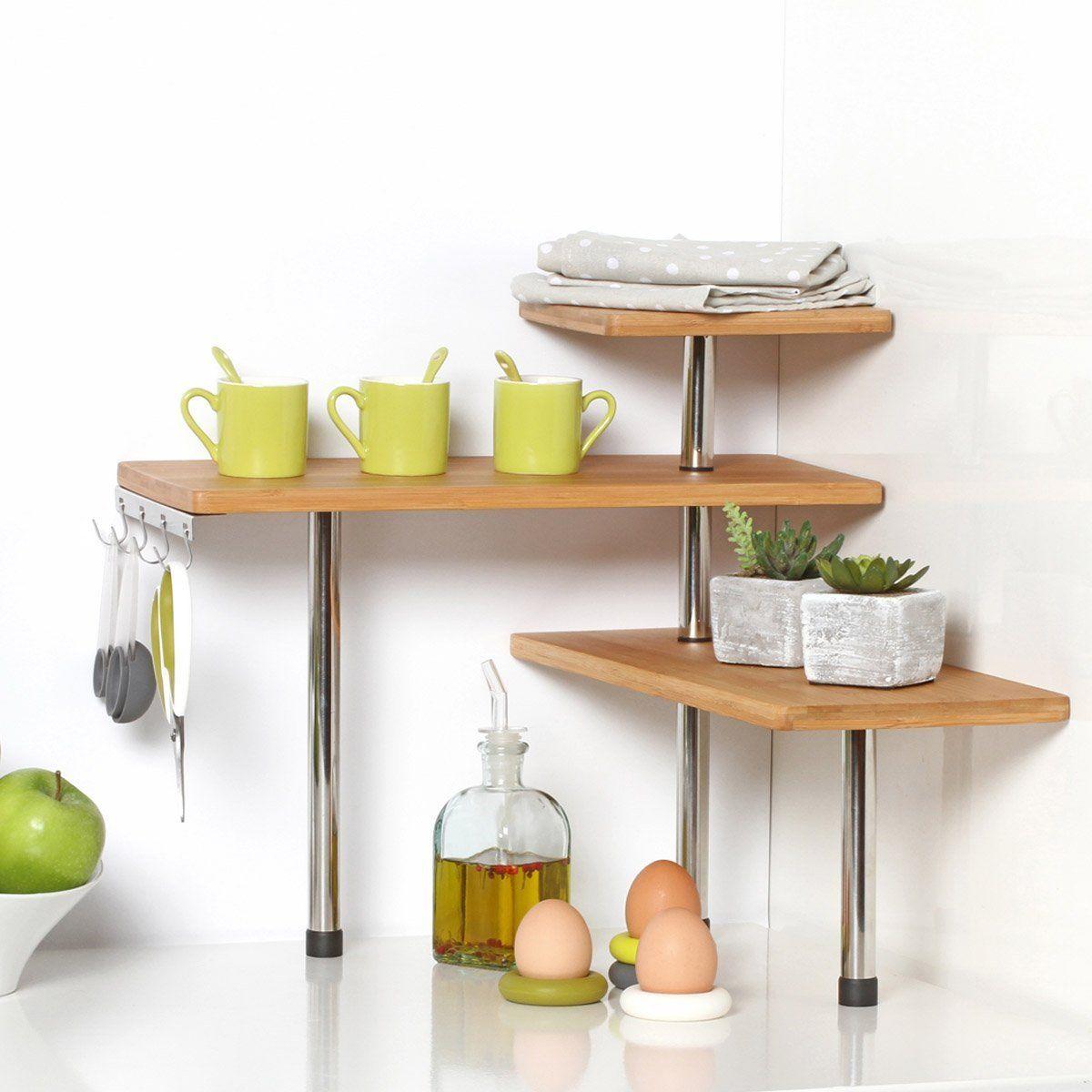 Bamboo And Stainless Steel Corner Shelf Unit Kitchen Bathroom Desktop Perfect Space Saving Idea Ama Kitchen Decor Corner Shelves Space Saving Kitchen