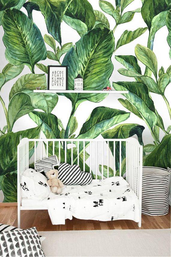 Removable wallpaper with Banana leaf print, Banana leaves