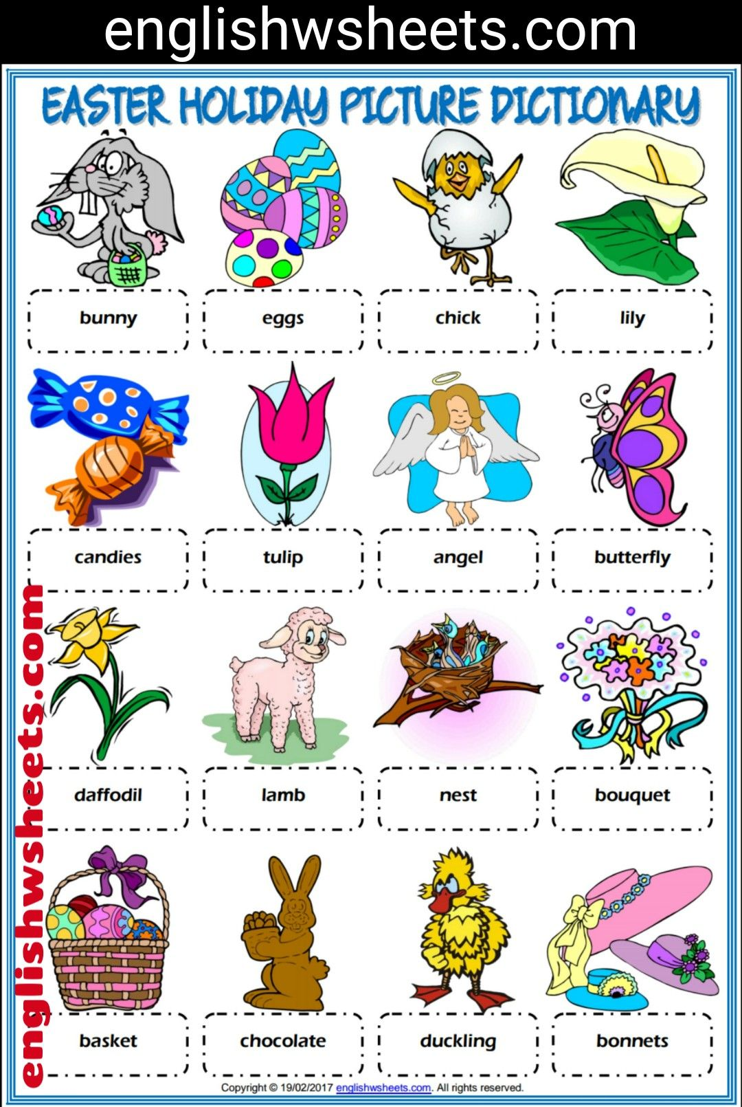 Easter Esl Printable Picture Dictionary For Kids Easter