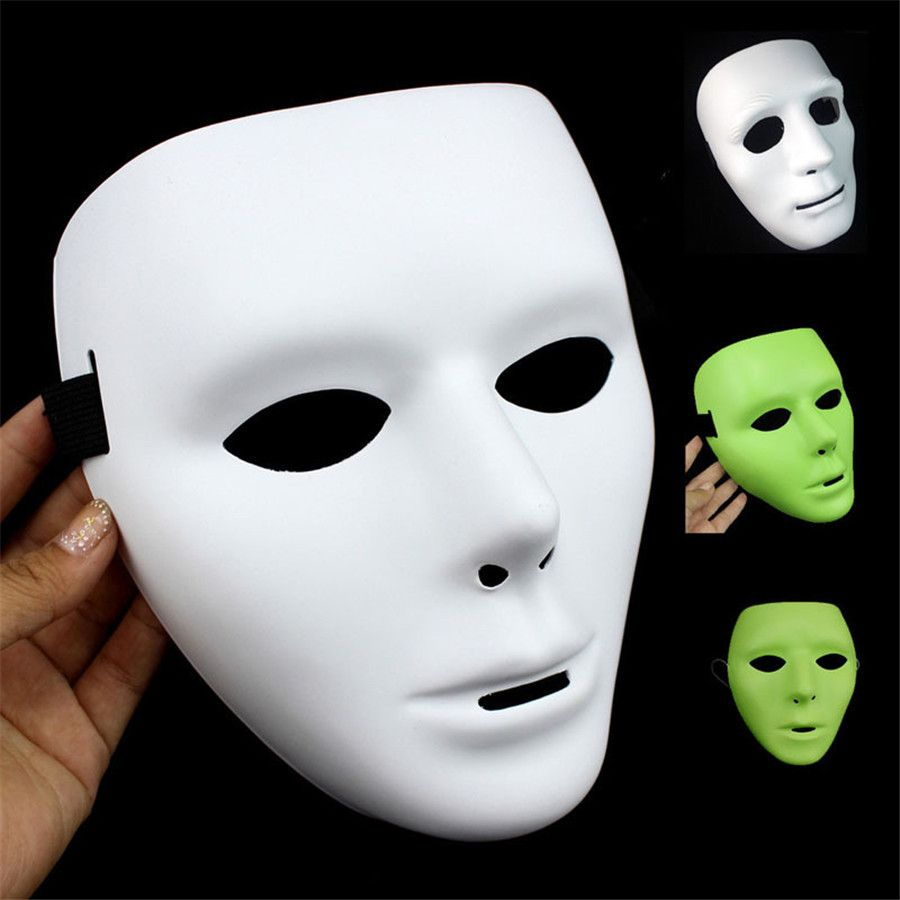 Plain White Masks To Decorate 2016 New Halloween Luminous Masks Ghost Dance Hiphop White Mask
