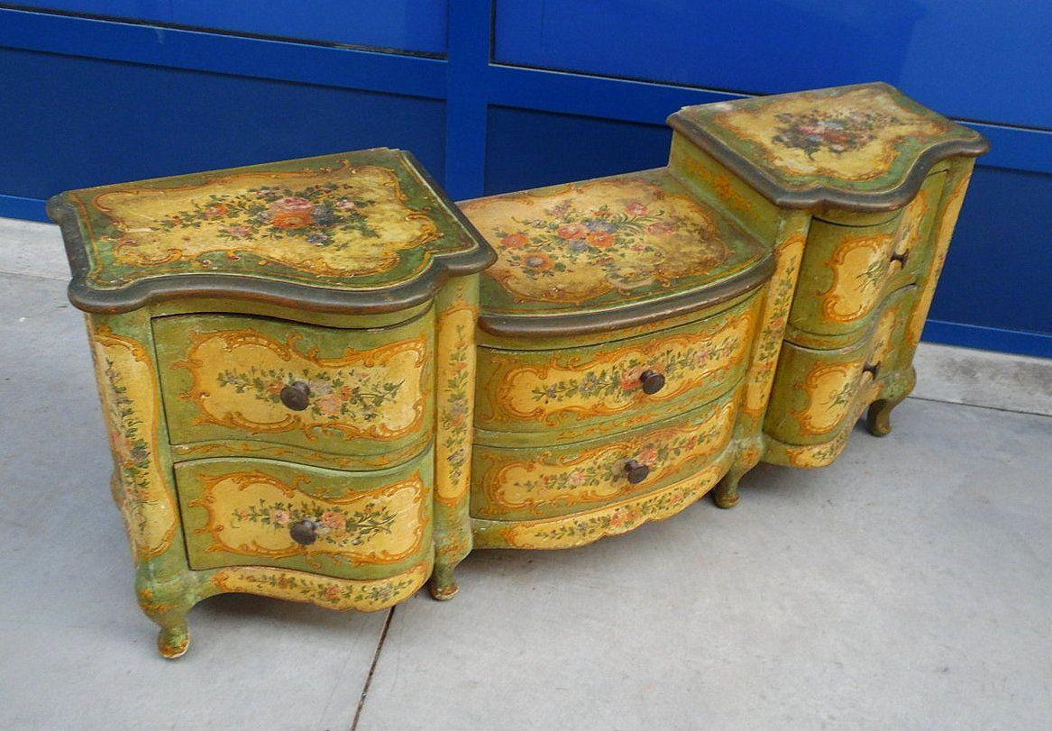 Consolle - mobile da ingresso stile Barocco veneziano laccato e ...