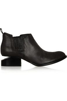 Alexander Wang Kori cutout-heel textured-leather ankle boots | THE OUTNET.