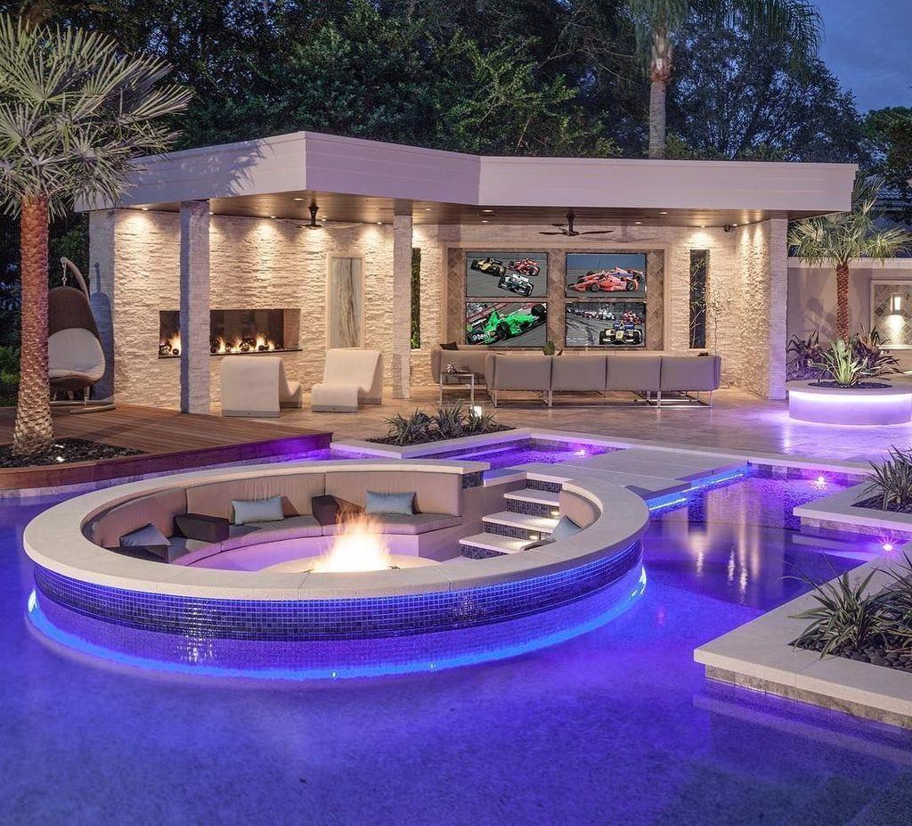 34 Cozy Pool Seating Ideas Luxury Pools Tropical Pool Swimming Pool Designs