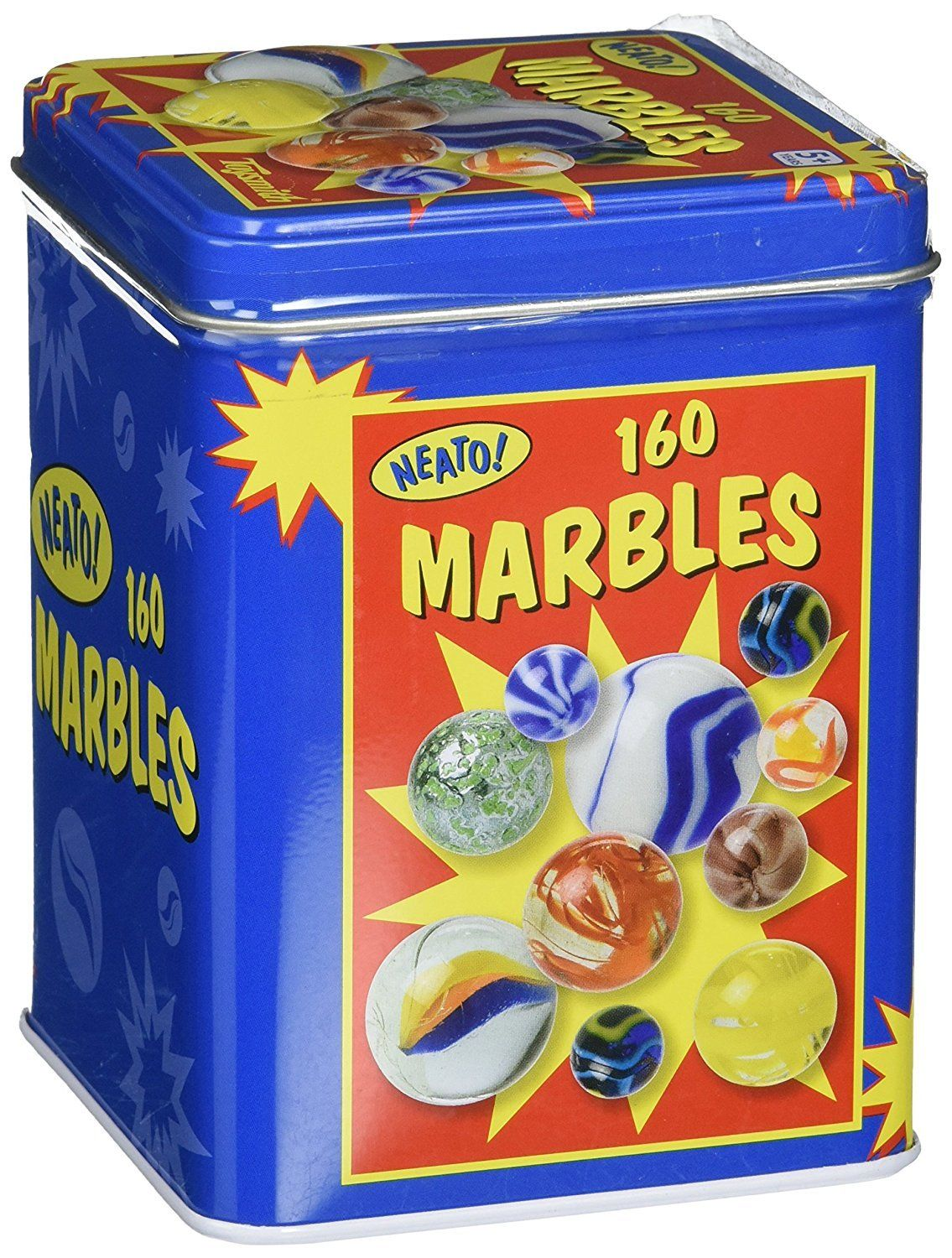 Toysmith – Marbles in a TinThe Toysmith Marbles in a Tin Box is a timeless classic that will providehours of fun for young children. The marbles in this set can be used in games ofskill, traded with friends or for the simple pleasure of studying their uniquepatterns. This set includes 160 glass marbles in a variety of colors andpatterns. Marbles are kept in a colorful tin storage box when not in use,reducing clutter. Suitable for indoor or outdoor play.Features:A collection of 160 classic, glass
