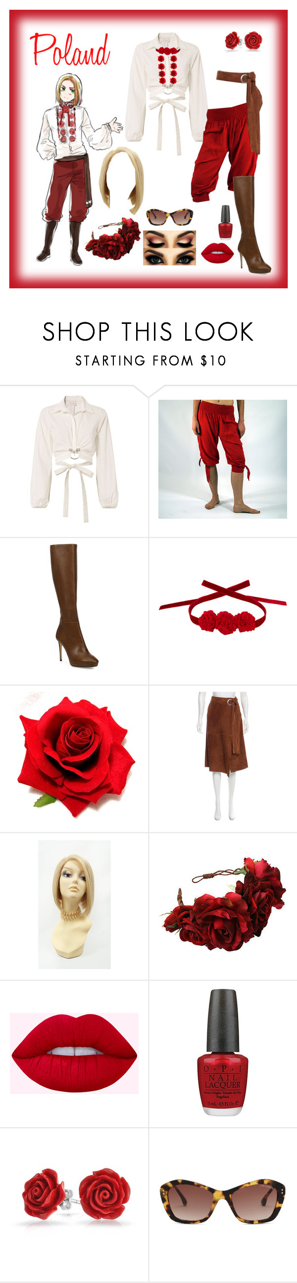 """""""Hetalia: Poland"""" by mrs-edelstein ❤ liked on Polyvore featuring Cinq à Sept, Jimmy Choo, Vjera Vilicnik, TIBI, Rock 'N Rose, OPI, Bling Jewelry and Oliver Goldsmith"""