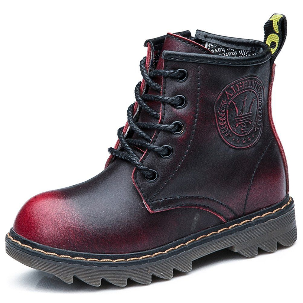 c641c1f7c3f9 DADAWEN Boy s Girl s Waterproof Leather Side Zipper Lace-Up Ankle Combat  Boot (Toddler