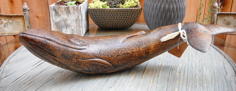 Photo of Coastal Decor Artisan Wooden Fin Whale, 18 inches Length
