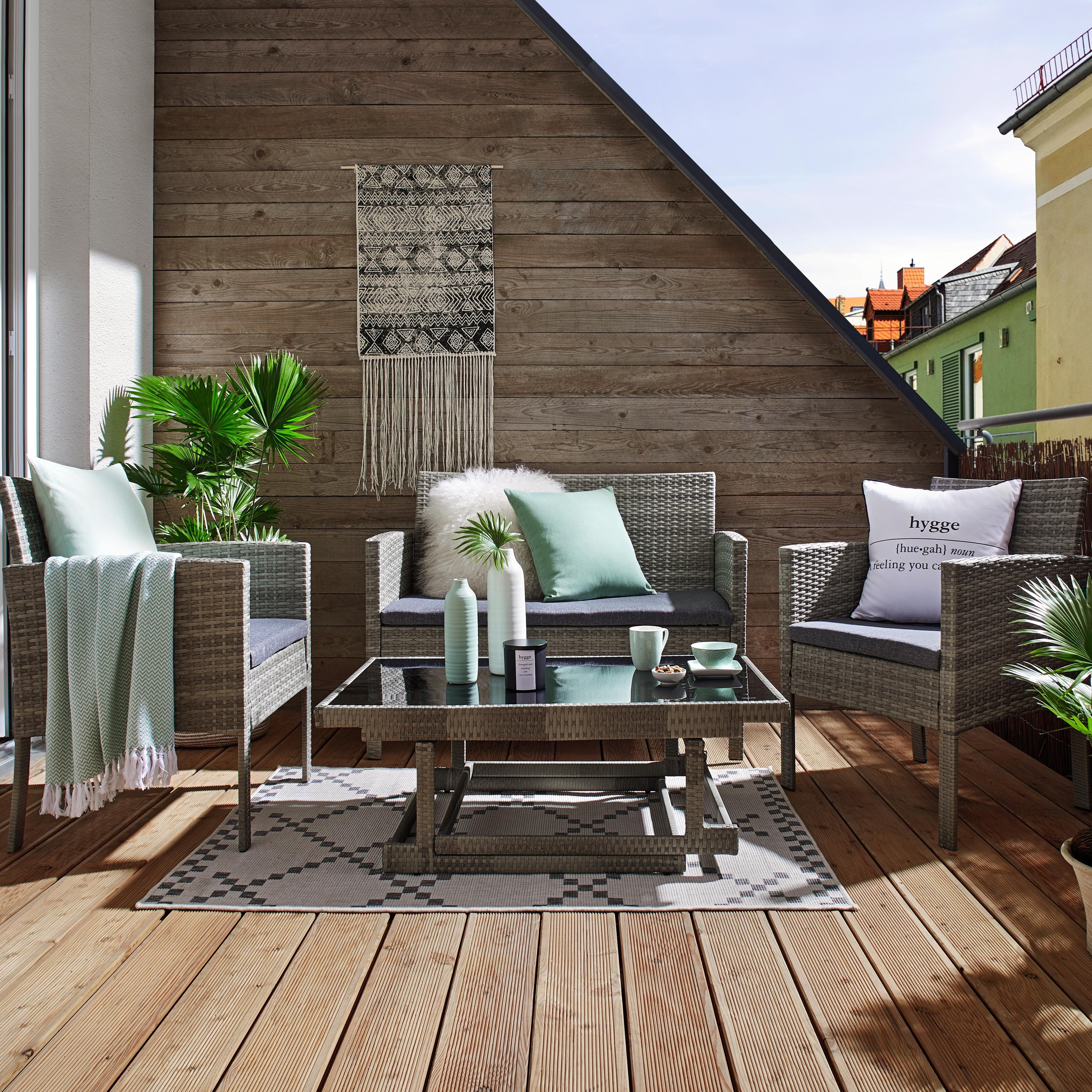 Loungegarnitur In Grau Schwarz Hohenverstellbar Gartenmobel Sets Outdoor Dekorationen Aussenmobel