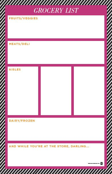 cute free printable shopping list split into categories! Cool - printable shopping list with categories