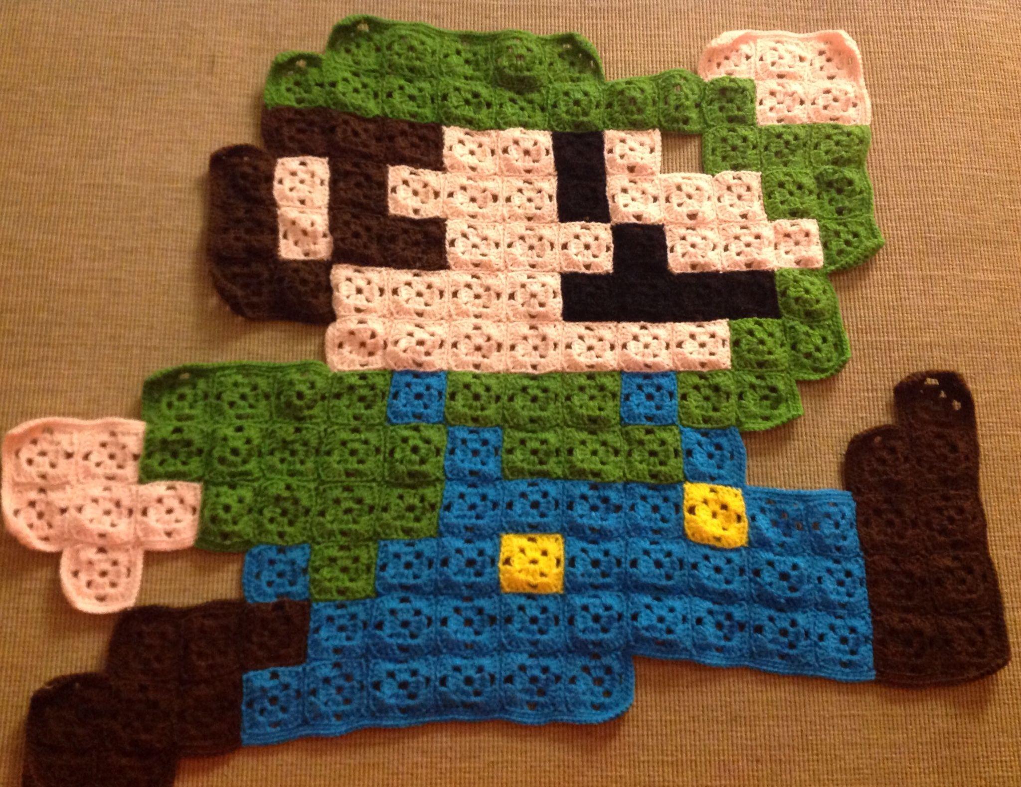 Super Mario Crochet Blankets Blanket And Yarns T Chevron Pattern Diagram Mantas Pinterest Custom Order Luigi From Bros 8bit