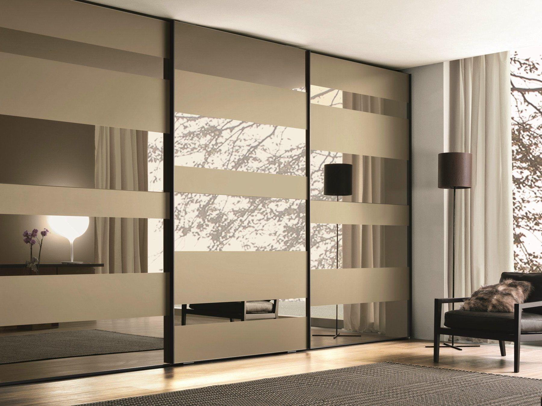 Bedroom Mirrored Glass Wardrobe With Sliding Doors Mixed Bedroom