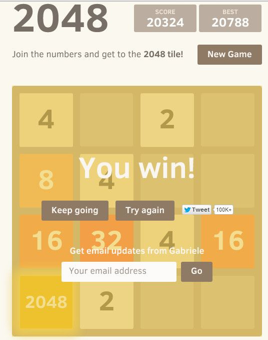 I Beat 2048 News Games Get Email Try Again