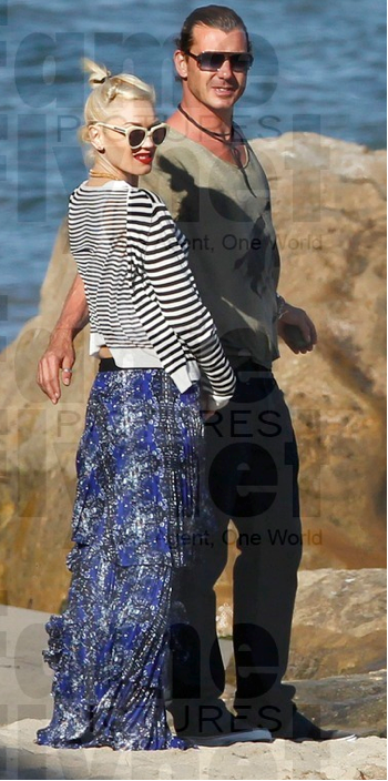 Gwen Stefani looking impossibly cool in ALC and Karen Walker sunnies.