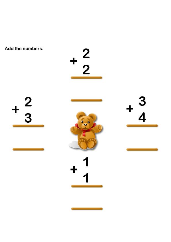 Addition Worksheet 1 k – Kindergarten Worksheets Online