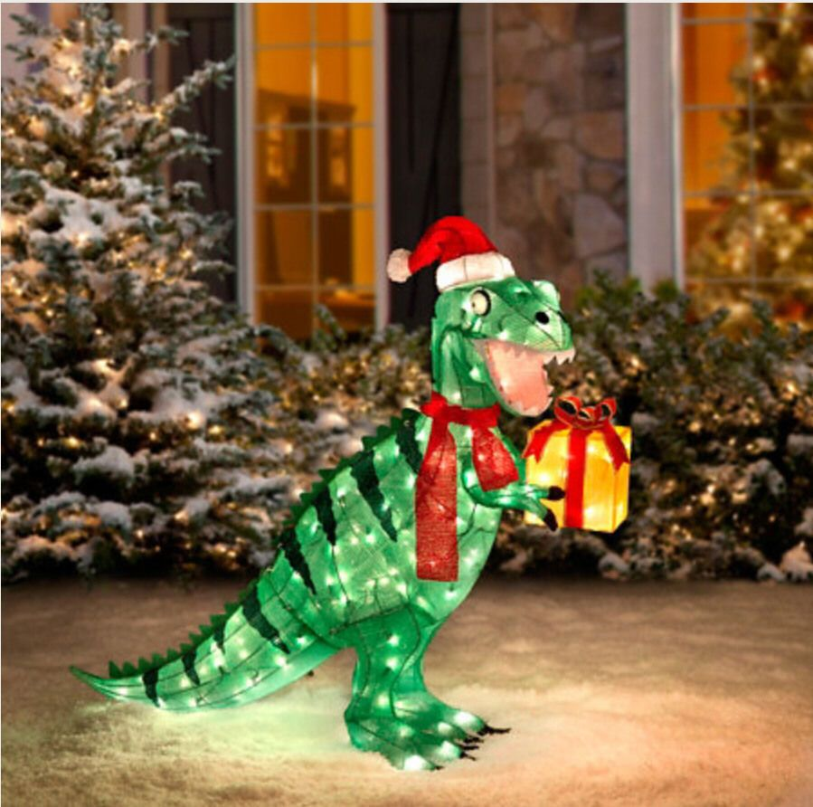 Lighted christmas pig outdoor decoration - Cute Christmas Holiday Green Tinsel Tyrannosaurus T Rex Red Santa Hat Gift Box Present Lighted Dinosaur Outdoor Yard Decor Clear Lights Festive Fun