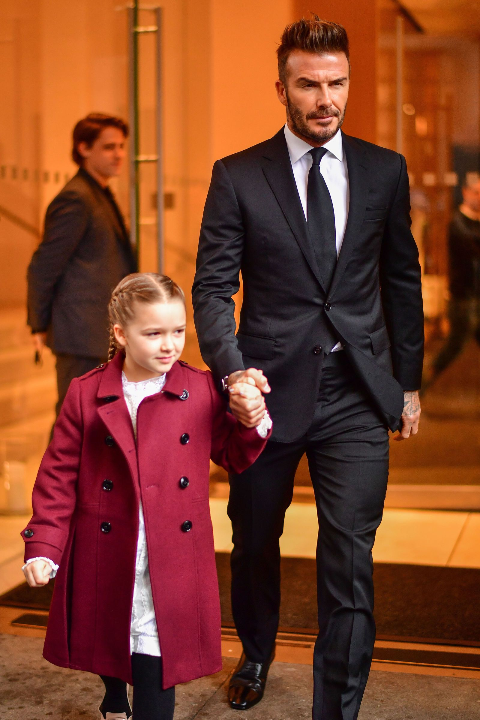 David Beckham And Harper Hold Hands As Family Supports Victoria