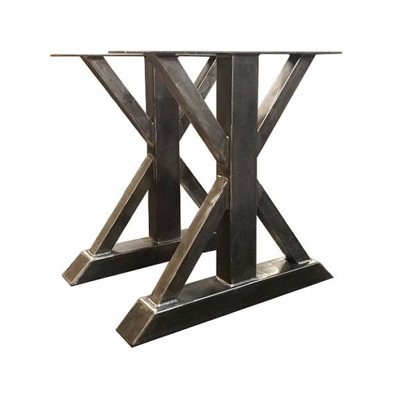 Metal Trestle Table Legs   Custom Made, Box Steel, Barn Wood, Butcher Block