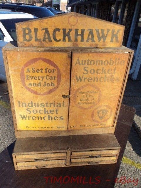 c.1925 Blackhawk Mfg Co. Socket Wrench Tool Metal Cabinet Retail Display Vintage