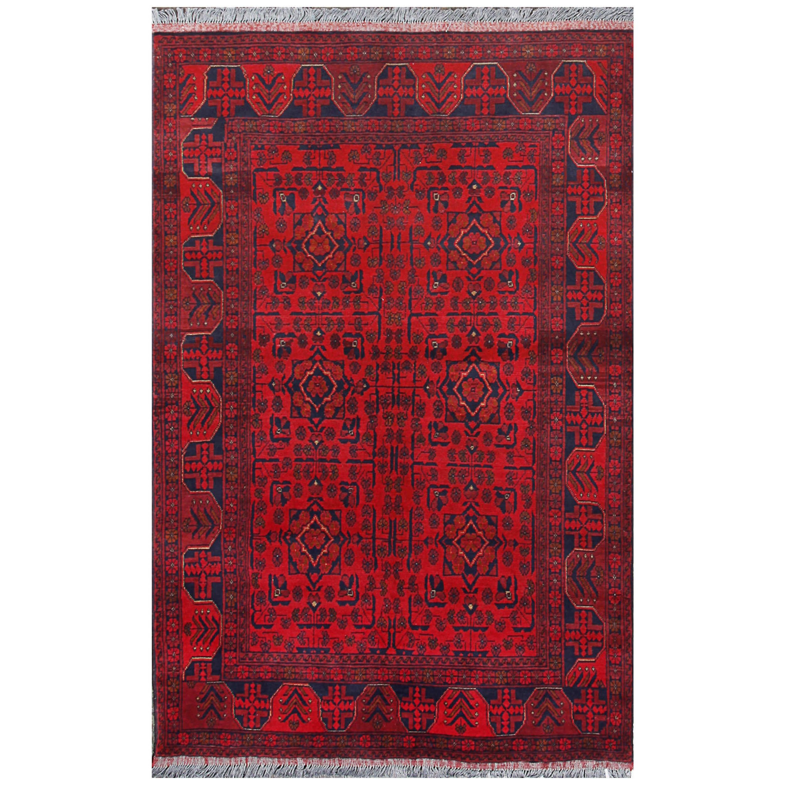 Abc Vintage Turkmen Triangle Red Hand Knotted Wool Accent Rug 4 X 6