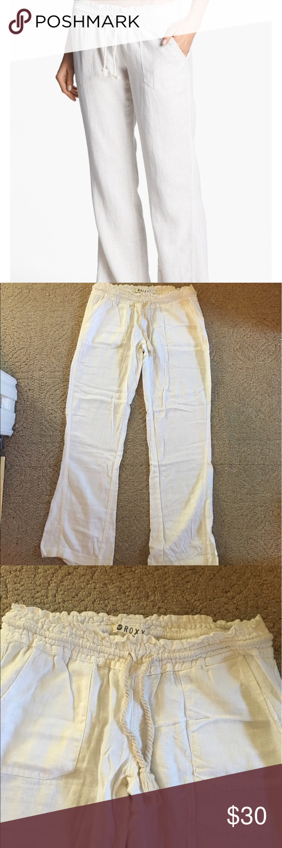 Roxy Oceanside Beach Pants (Stone) Super cute flowy pants! Very comfortable and very breathable; perfect for the summer! Worn a few times but in great condition! Roxy Pants Boot Cut & Flare