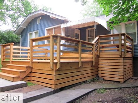 Horizontal Deck Skirting Ideas How To Build A Floating Deck End Deck Railing Design Wooden Deck Designs Deck Skirting