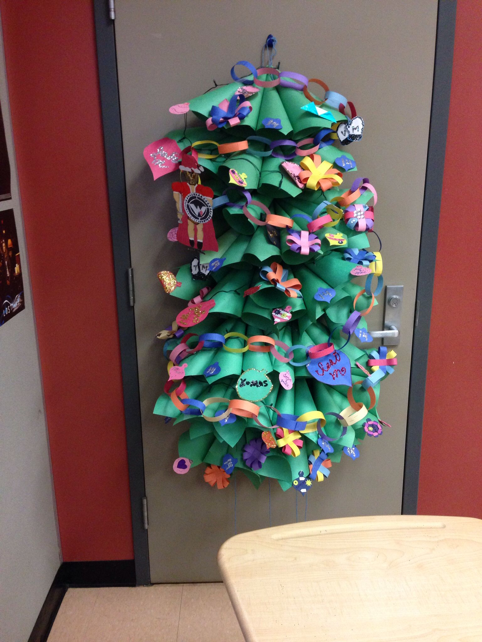 Christmas tree made by my advisory for door decorating ...