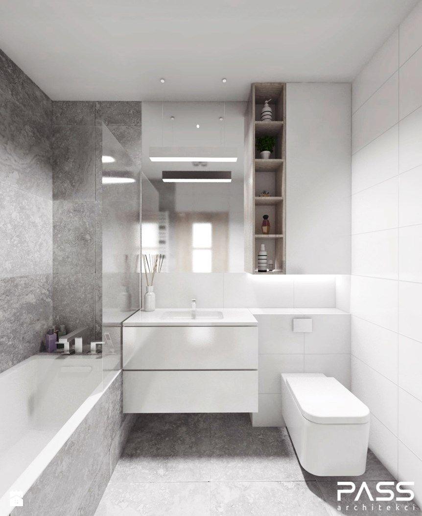 Une salle de bain dans les tons #gris et #blanc #sdb #baignoire http ...
