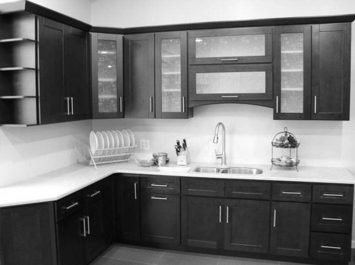 Black kitchen cabinets white counters For when my whole house is a