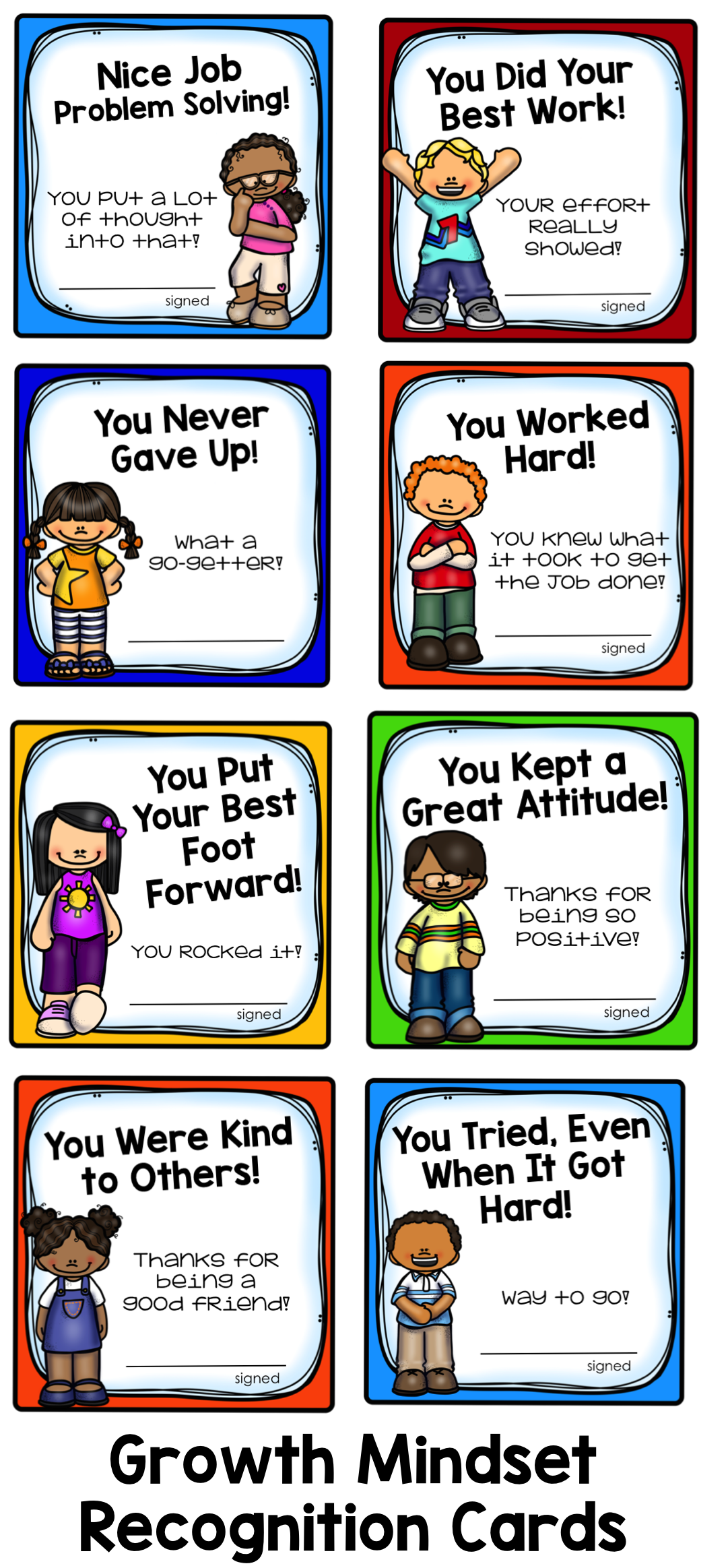 Growth Mindset Student Recognition Cards | Positive things ...