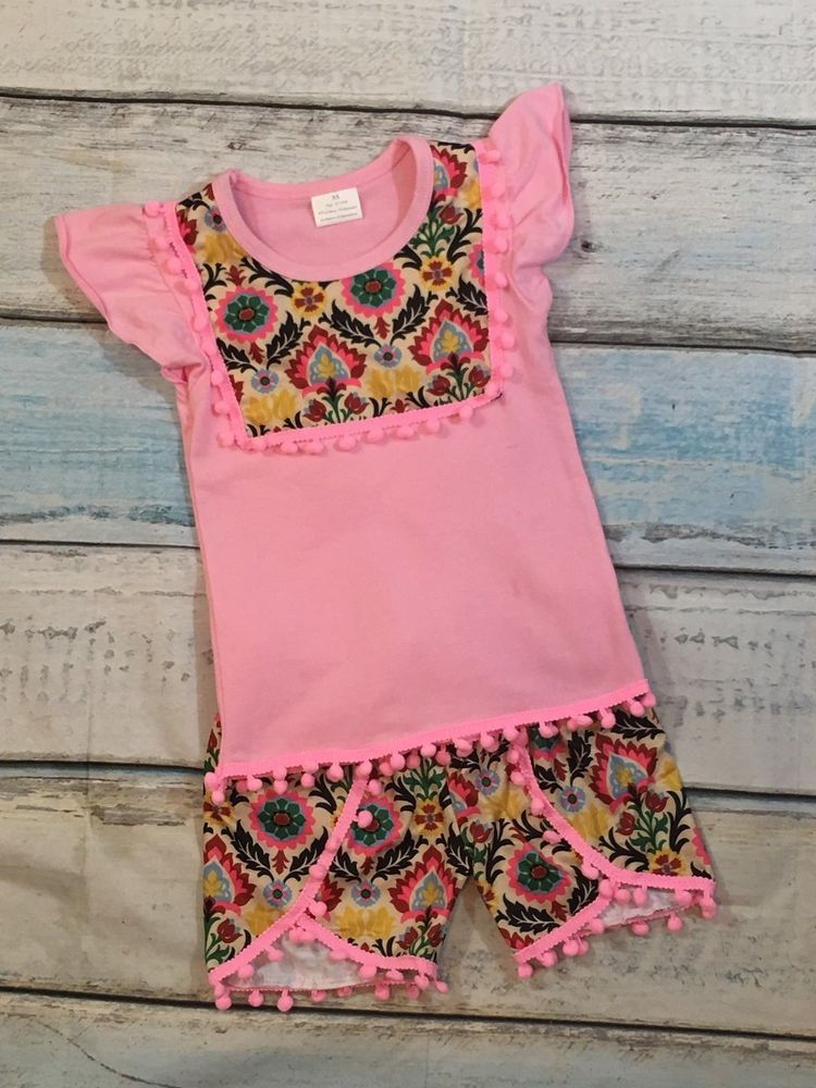Girls Ruffle Boutique 2 pc Shorts Set Pom Pom Trim Pink