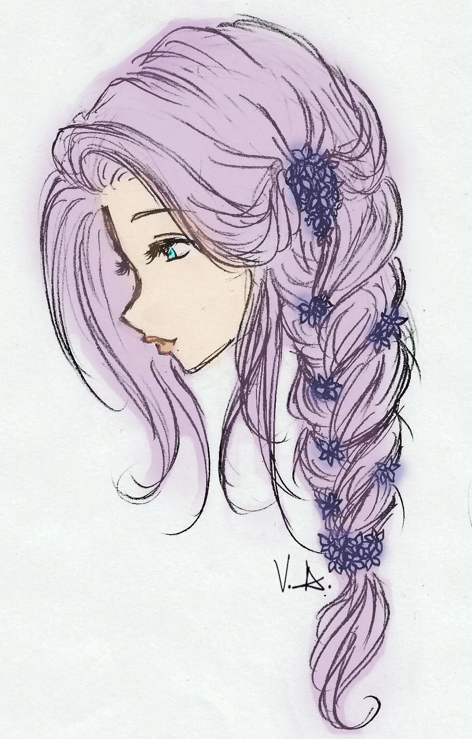 drawing of girls with long hair