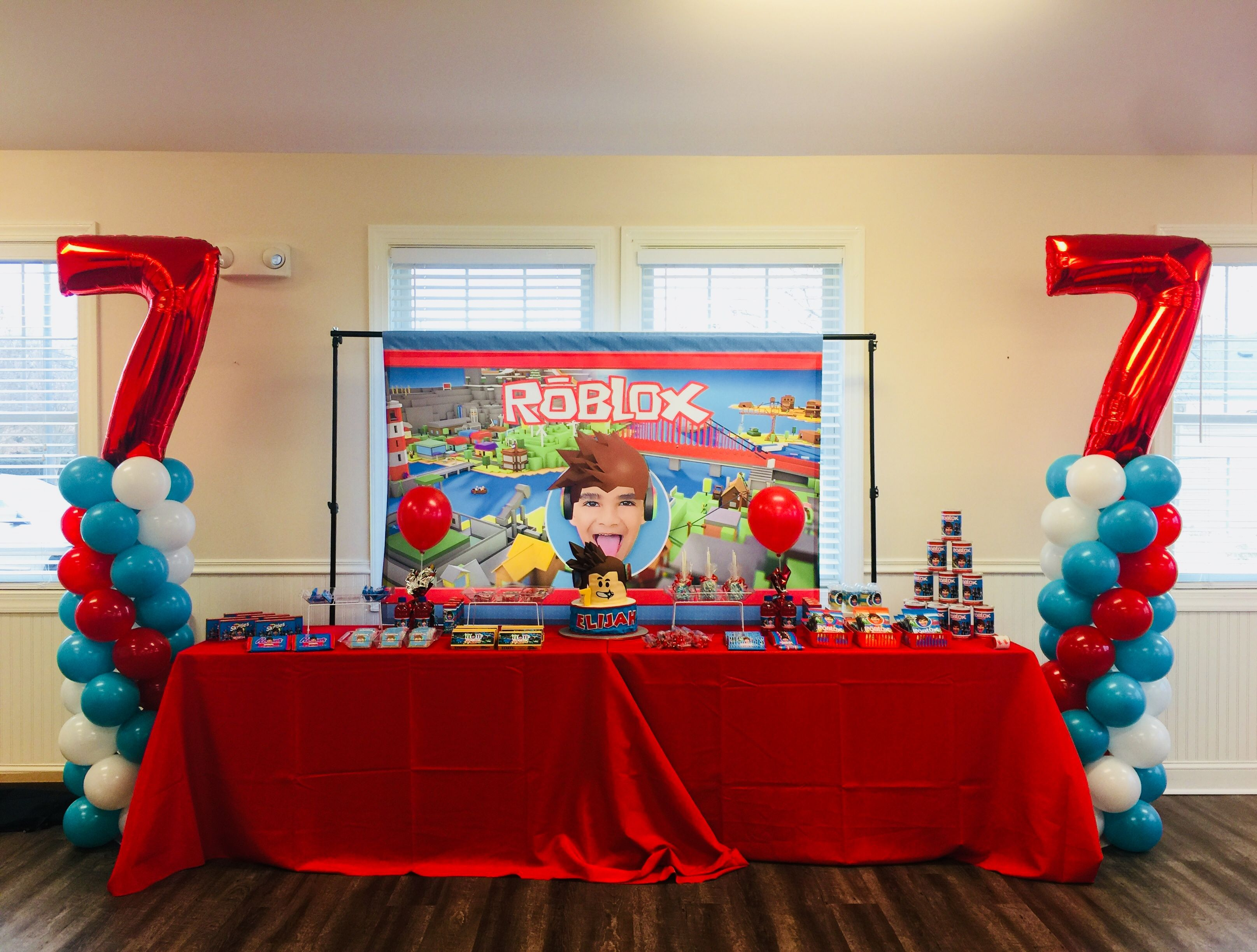 Roblox party set up decor dessert table Designed by Dainty