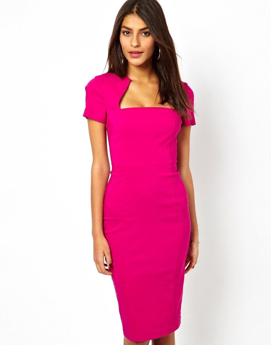 ASOS | ASOS Pencil Dress In Bengaline With Square Neck at ASOS ...