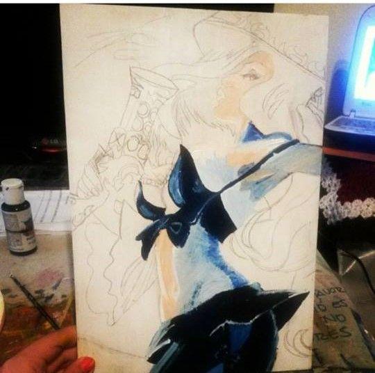 Empecé a pintar el cuadro pero como se me complicaba con los colores, lo dejé XD #lol