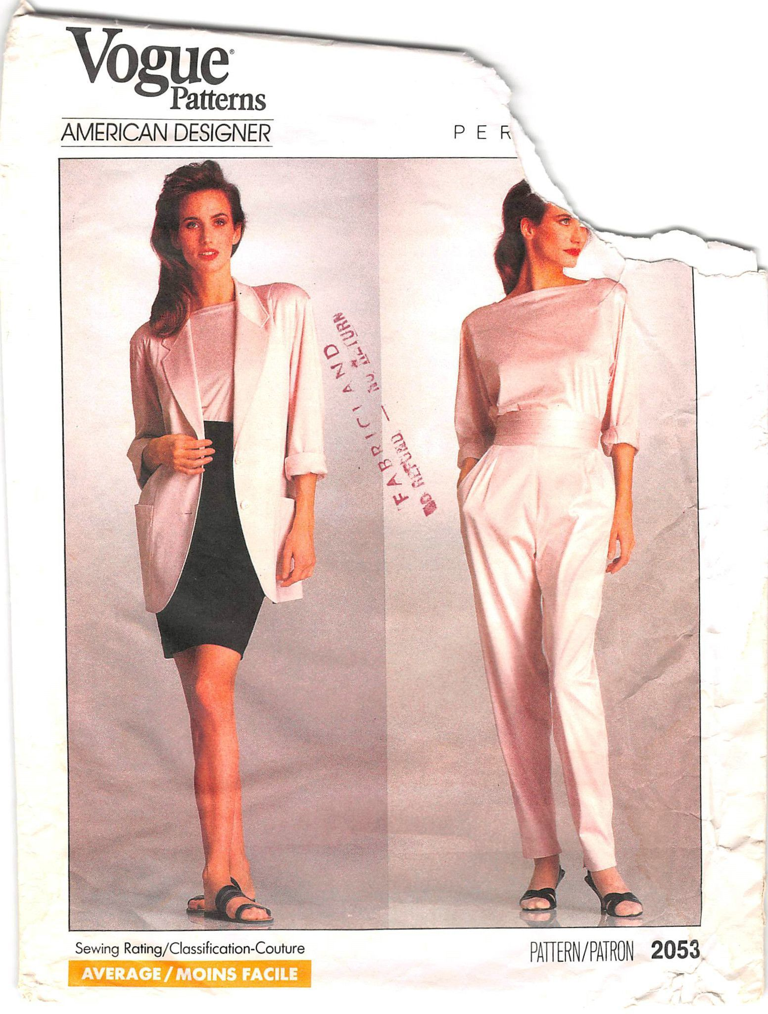 VOGUE 2053 - FROM 1988 - UNCUT - MISSES JACKET, TOP, SKIRT & PANTS