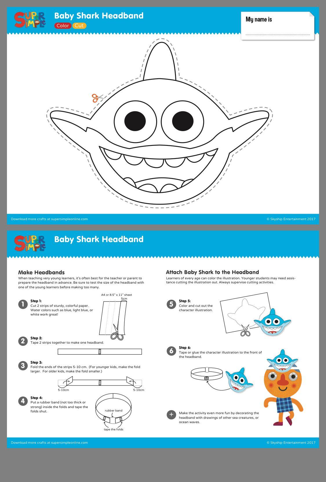 Pin By Terri Karam On Birthday Party Ideas How To Make Headbands Baby Shark Shark Craft